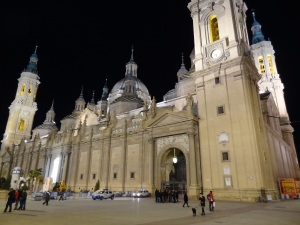 Here's Zaragoza cathedral up close and at night